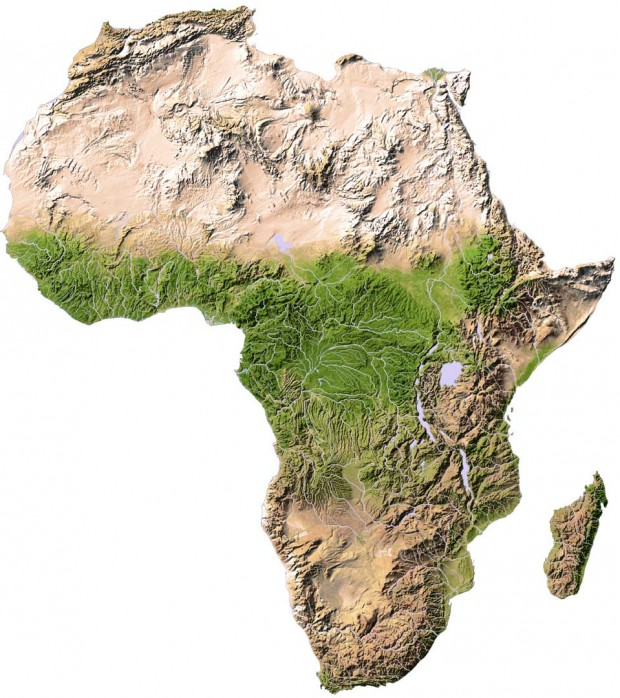 Africa Topographic Map